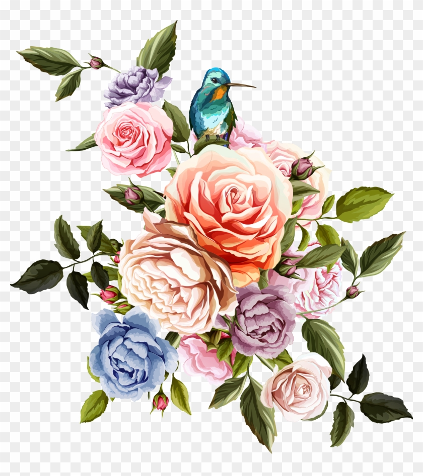 Beach Rose Flower Euclidean Vector - Flowers And Birds Png #831674