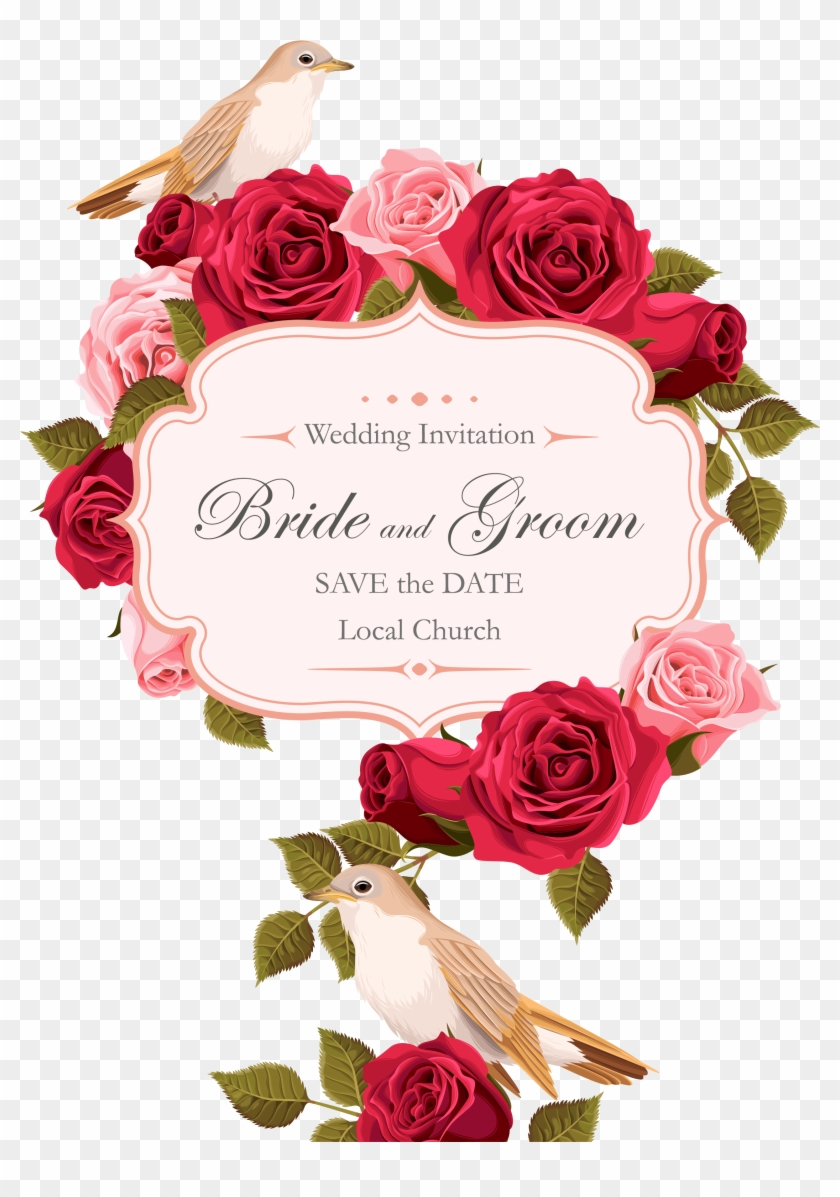 Wedding Invitation Rose Euclidean Vector - Red Rose Invitation Free Vector #831817