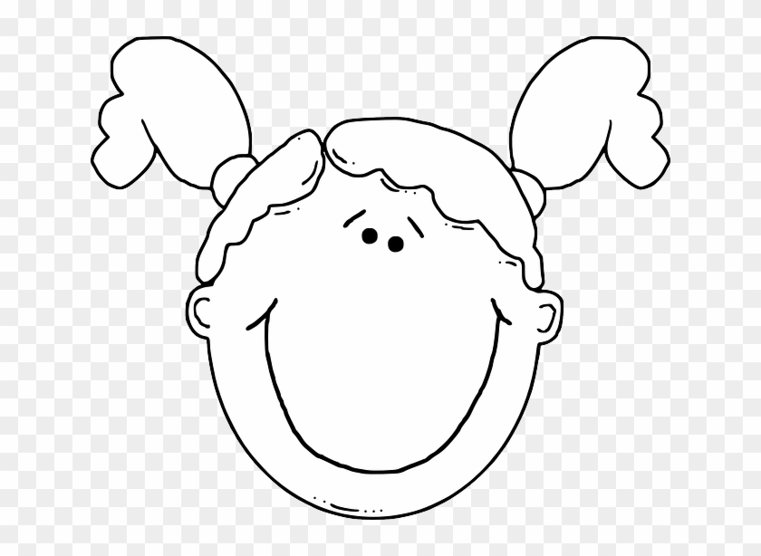 Outline, People, Kid, Girl, Young, Faces, Face - Girl Face Clip Art #834639