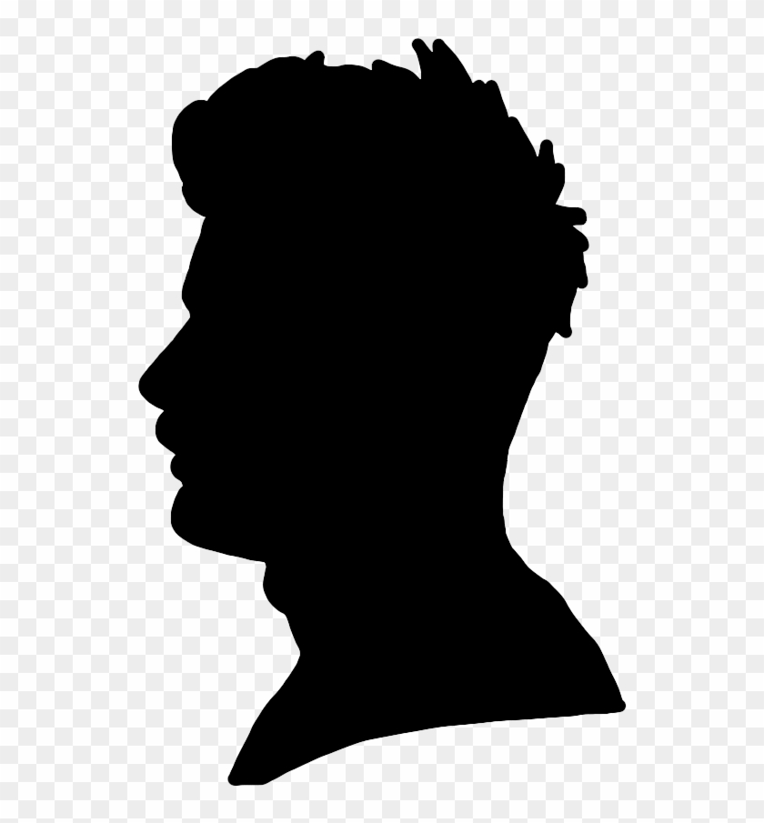 Face Silhouettes Of Men, Women And Children - Man Face Profile Silhouette