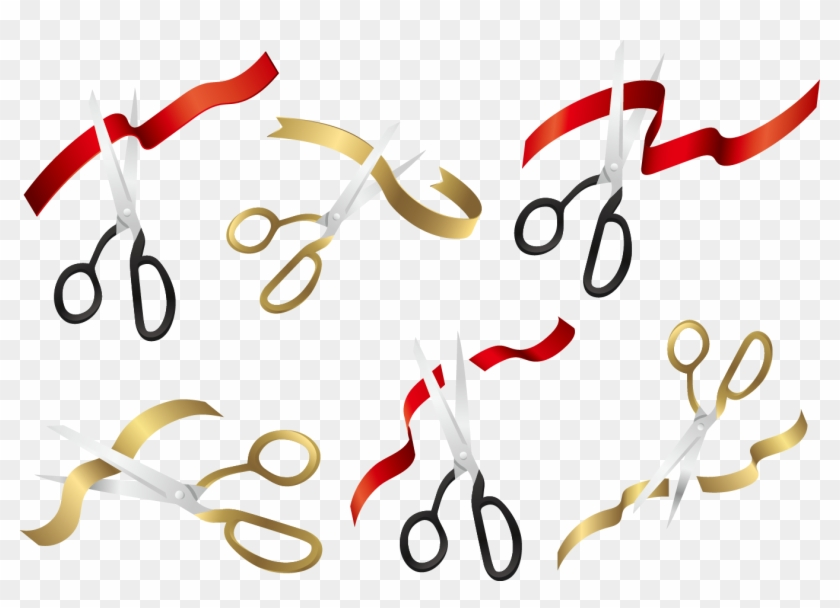 Scissors Opening Ceremony Ribbon - Ribbon Cutting Vector Png #838888