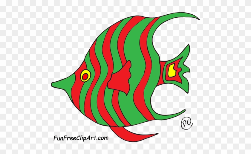 Fish Blue Green Red Clipart - Red And Green Fish Clipart #839984