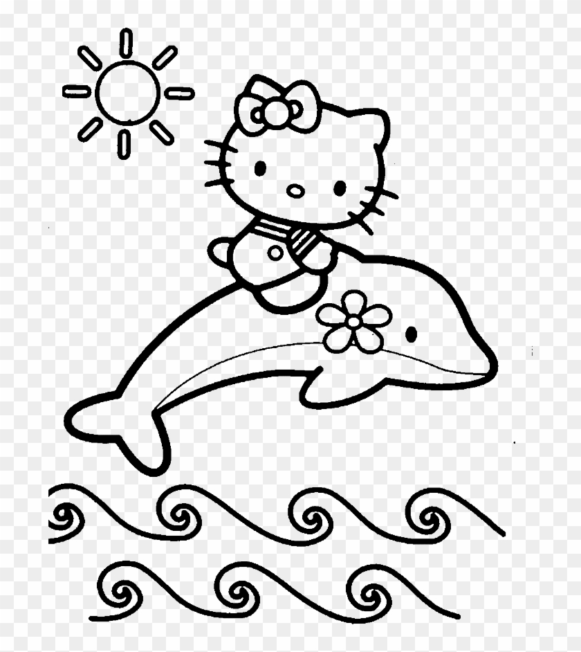 - Hello Kitty Riding A Dolphin Coloring Pages - Baby Dolphin