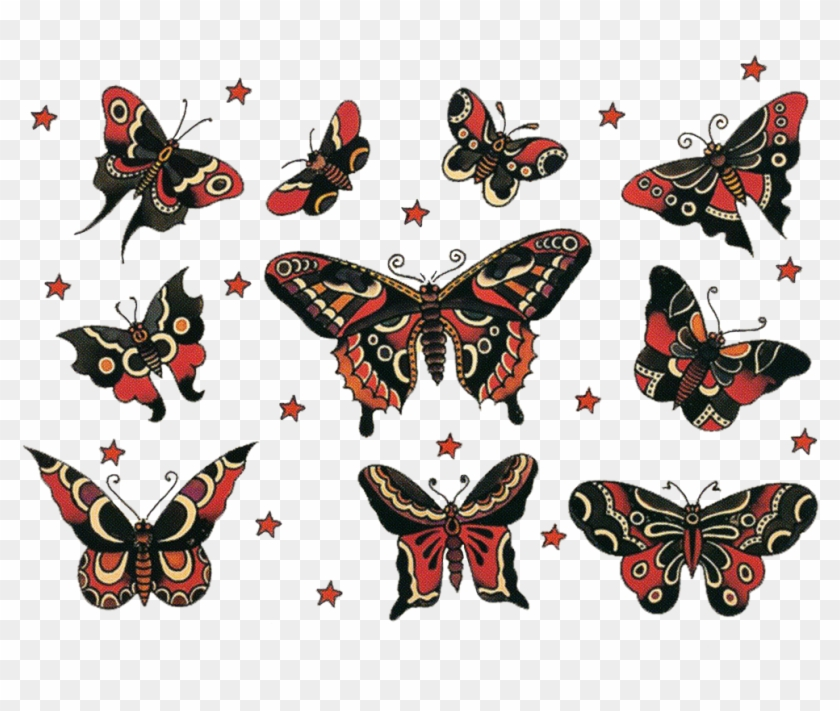 Image Result For Old School Traditional Butterfly Tattoo - Sailor Jerry Butterfly Tattoo #840102