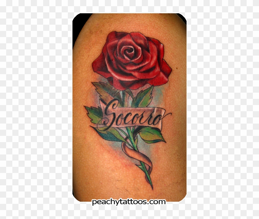Faith And Mama Banner Nice Red Rose Old School Tattoo Rose Tattoo Design With Name Free Transparent Png Clipart Images Download