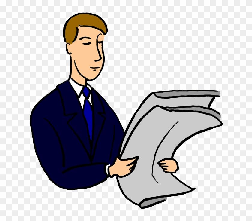 Man Reading Clipart - Man Reading Newspaper Clipart #840597