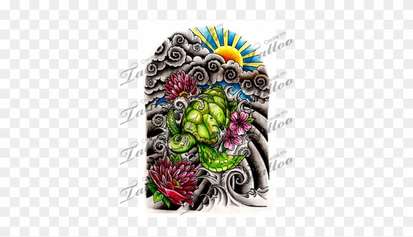Marketplace Tattoo Japanese Half Sleeve Japanese Turtle Tattoo