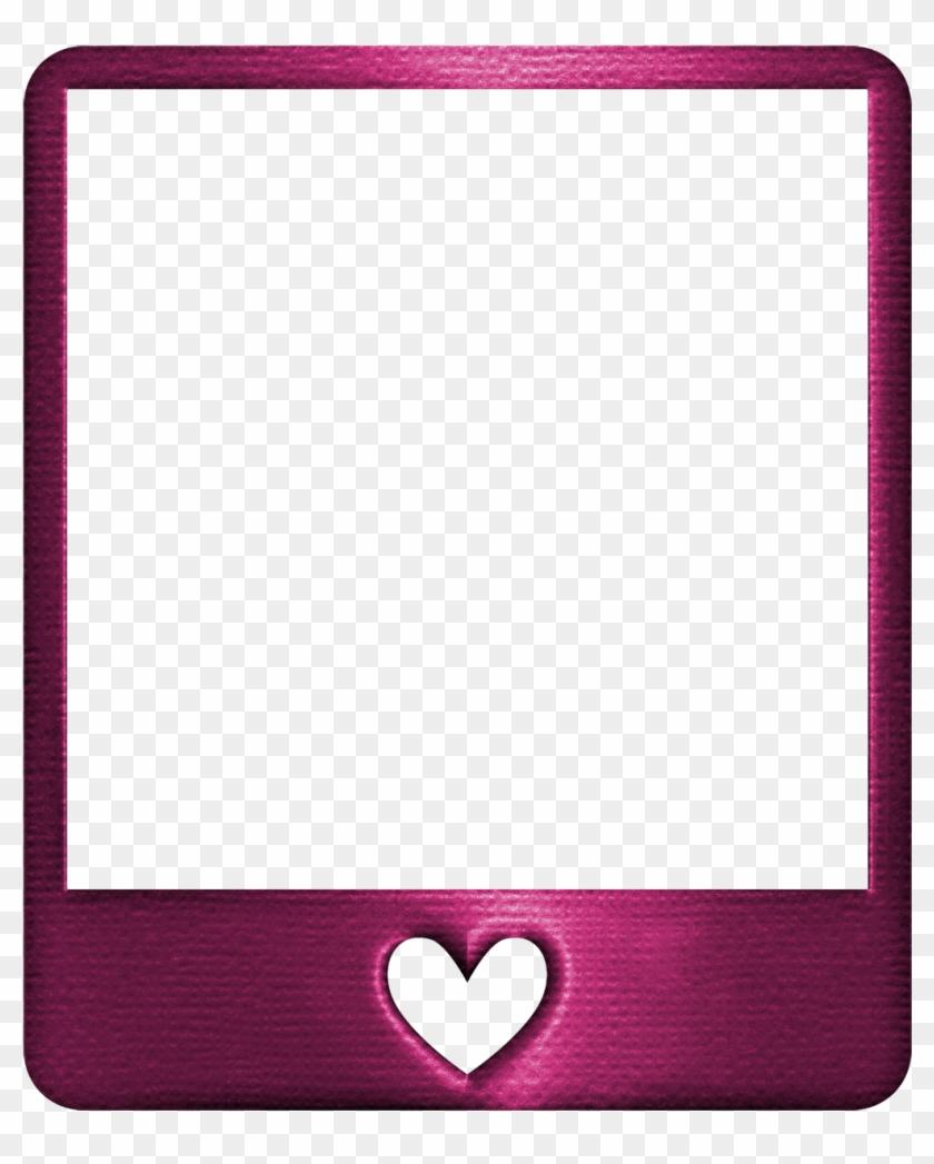 Metallic Fuschia Pink Polaroid Frame Heart Polaroidstic - Pink Metallic Frame #843576