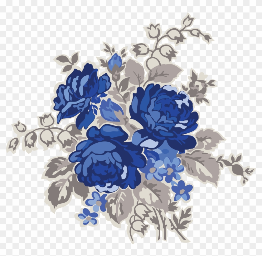 my design blue flowers blue vintage floral pattern