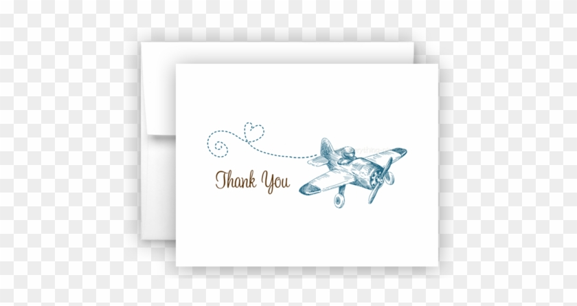 Vintage Airplane Printed Thank You Cards • Folded Flat - Baby Shower ...