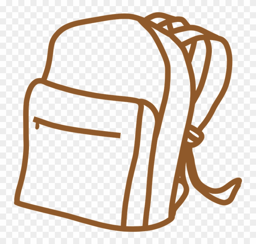 Vintage Clipart Of Backpack, Brown, Outline, Bag, School - School Bag Outline #849316