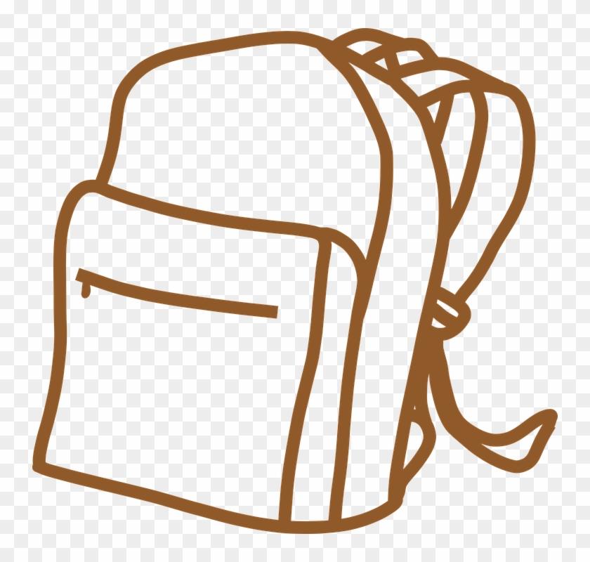 Vintage Clipart Of Backpack, Brown, Outline, Bag, School - School Bag Outline #849316
