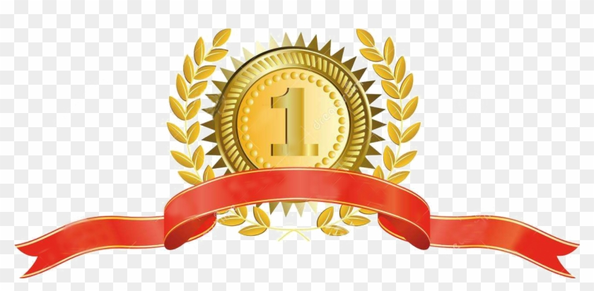 Gold Medal Ribbon Laurel Wreath - Ribbon Vector #851608
