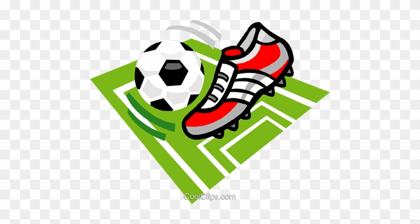 Soccer Ball And Cleat Royalty Free Vector Clip Art - Soccer Cleat Clip Art #851845