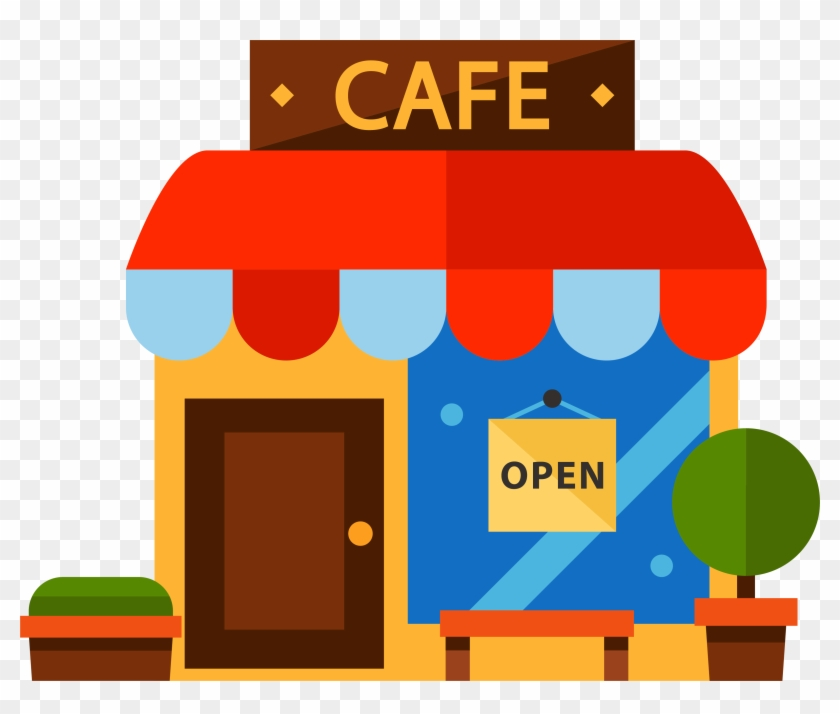 Cartoon Color Coffee House - Coffee Shop Vector Png - Free ...