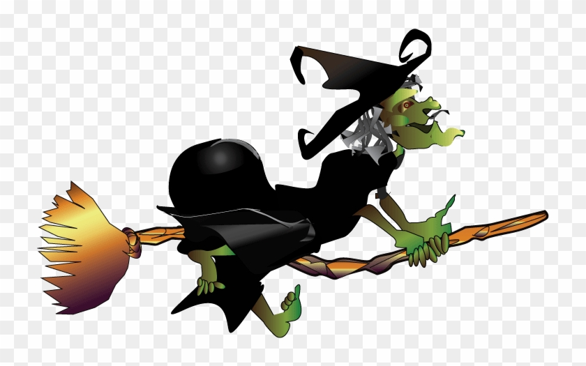 Halloween Cartoon Witches 14, Buy Clip Art - Witch Flying On Broom Gif #853966