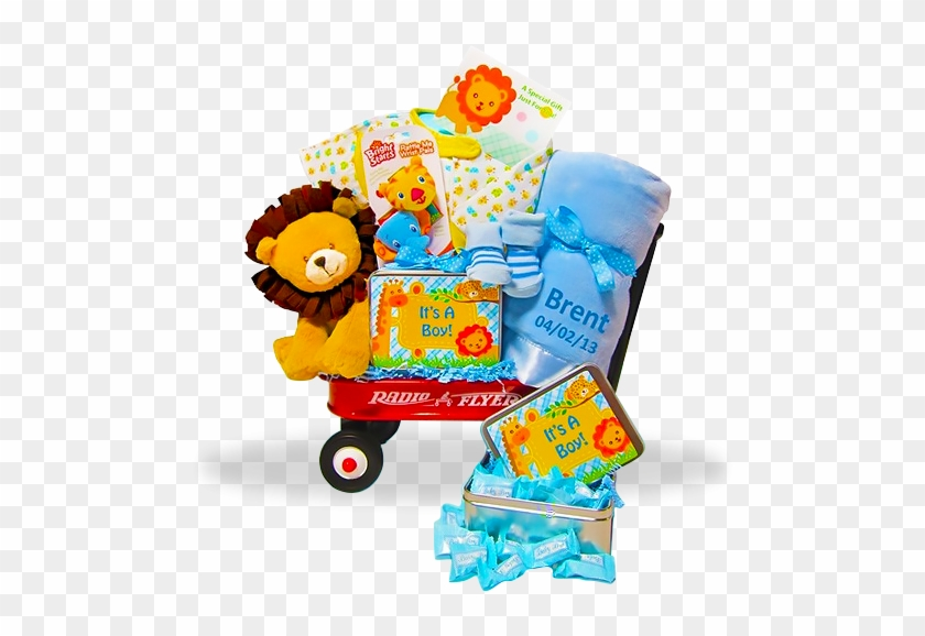 It's A Boy Wildlife Mini Wagon With Lion And Personalized - Baby Boy Gift Jungle Jamboree #856098
