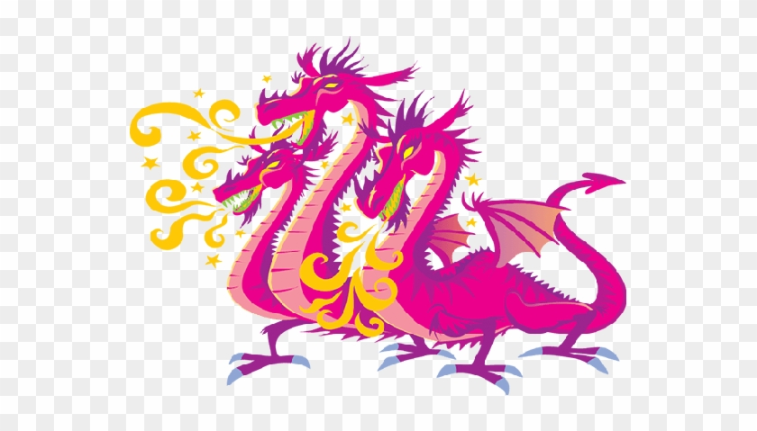 Related Pink Dragon Clipart - Three Headed Dragon #856578