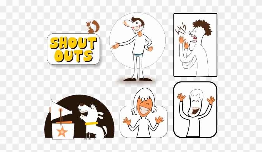 Shout Outs Black White Line Art 555px - Shout Out Clip Art #857572