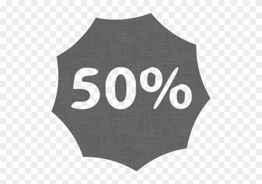 Grey Wall 50 Percent Badge Icon - Number #860346