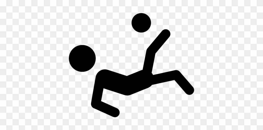 Soccer Player Silhouette Falling Kicking The Ball Vector - Soccer Player Stick Figure #860696