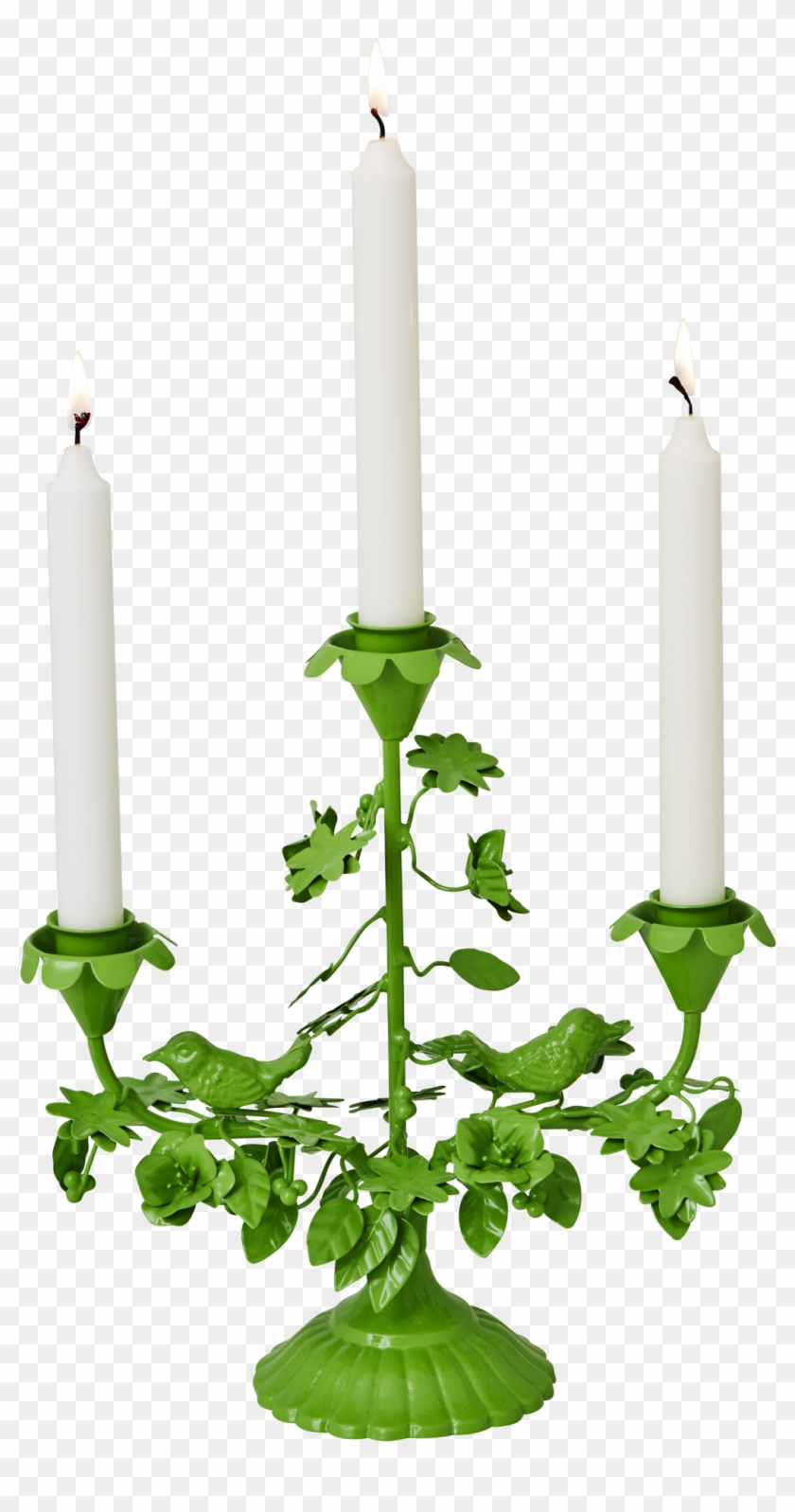 Green Metal Birds Flowers 3 Arm Candle Holder Rice