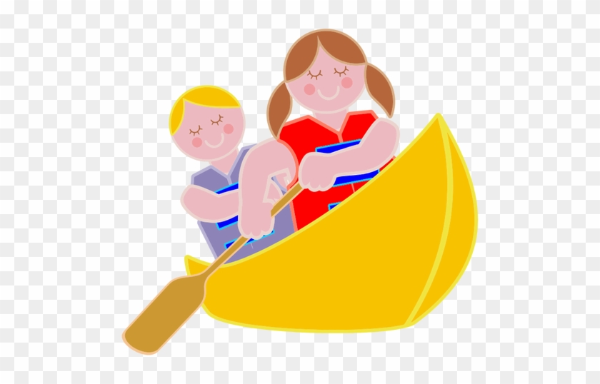 Girl Rowing Boat Clipart - Boy And Girl In Canoe #861356