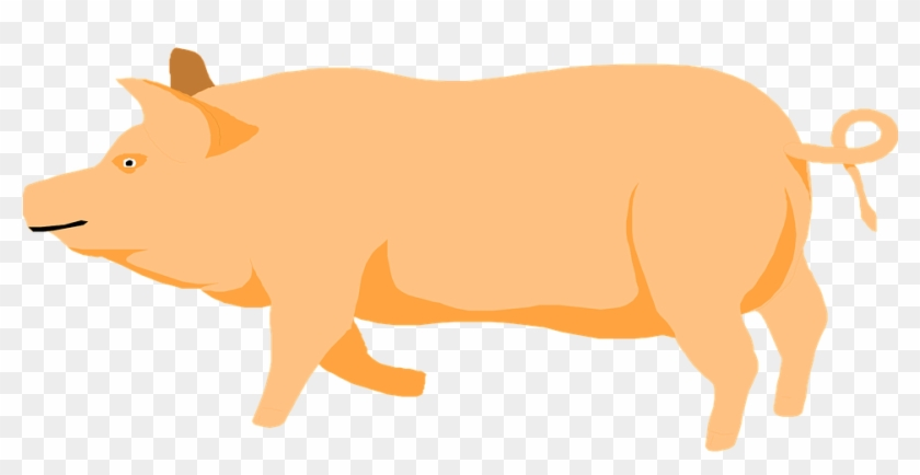 Barn Farm Pig Walking Animal Prancing - Pig Clipart Orange #159900