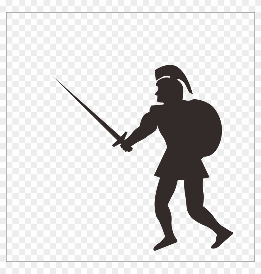 Soldier Gladius Sword Roman Army Clip Art - Roman Soldier Silhouette Png #160446