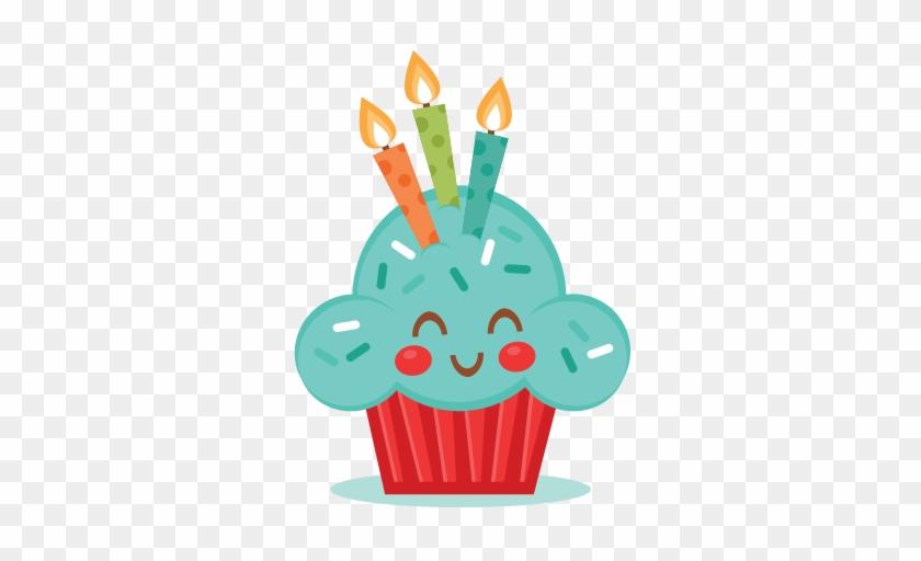 Cute Birthday Cupcake Svg Scrapbook Cut File Cute Clipart - Cute Birthday Clipart #160606