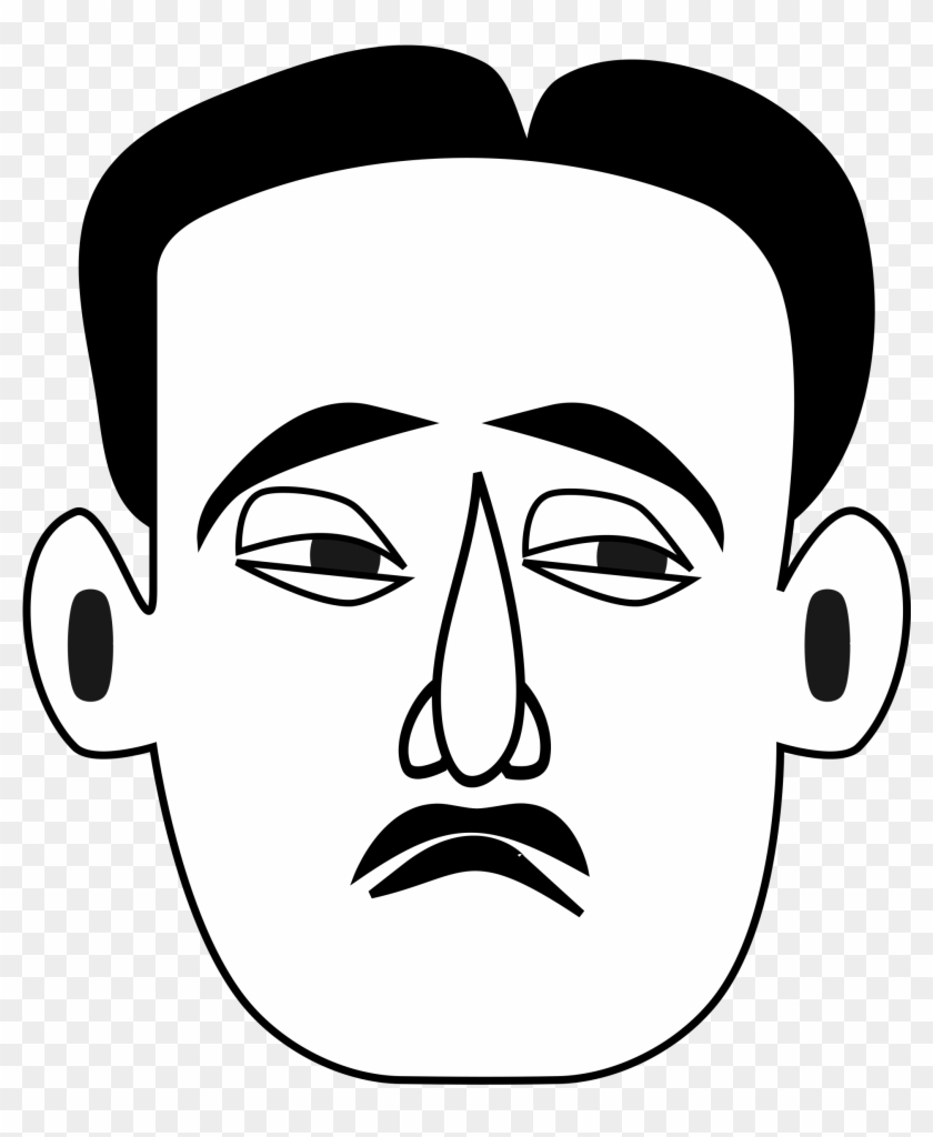 Best Sad Face Clip Art - Man Face Black And White Drawing #162009
