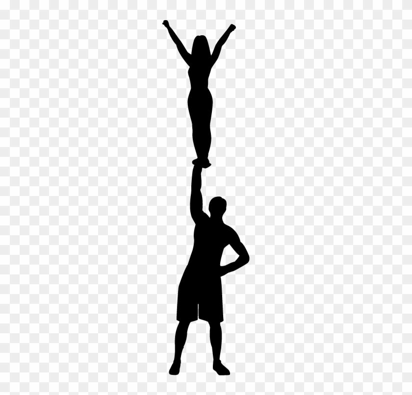 Cheerleading Silhouette Clip Art Pjh2ic Clipart - Cheerleading Stunt Silhouette #162388