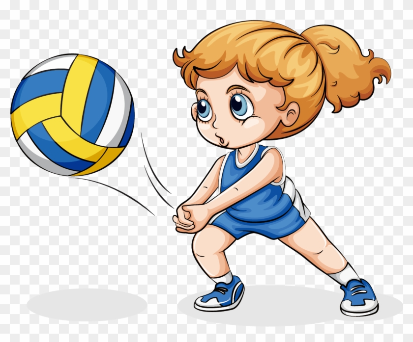 Volleyball Play Girl Clip Art - Playing Volleyball #162806