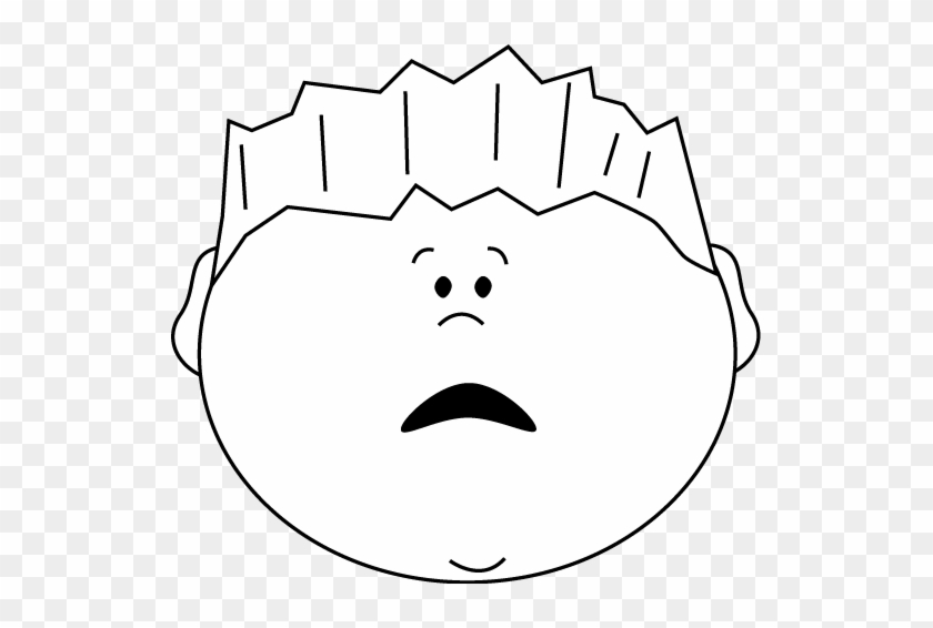 Black And White Scared Face Boy Clip Art - Boy Holding Clipart Black And White #163623