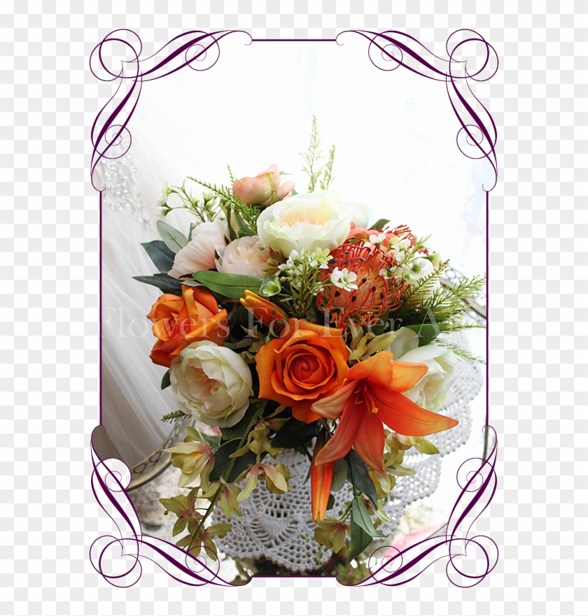 Silk Artificial Vibrant Orange, Apricot And Green Bridal - Flower Bouquet #862076
