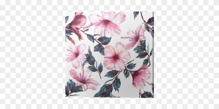 Hand-drawn Watercolor Floral Seamless Pattern With - Hibiscus Flower Png Watercolour #862108
