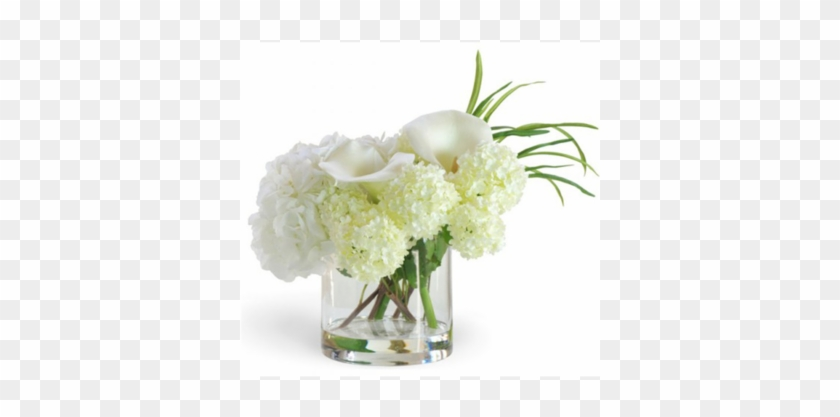 Calla Lily And Hydrangea Mix Small White Flower Arrangement