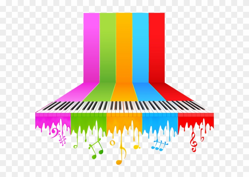Piano Background Music Musical Note - Color Music Notes Png - Free