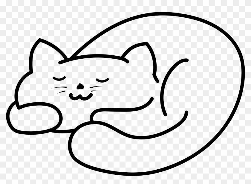 Open - Sleeping Cat Png Cartoon #864339