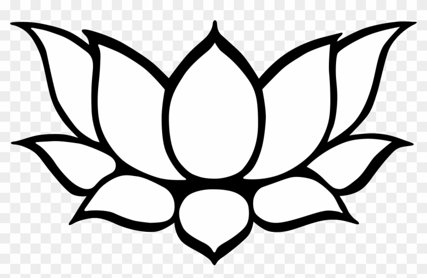 Kamal Clipart Black And White - Lotus Flower Simple Drawing - Free Transparent Png -7117