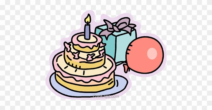 Geburtstagstorte Geschenke Und Luftballons Vektor Clipart