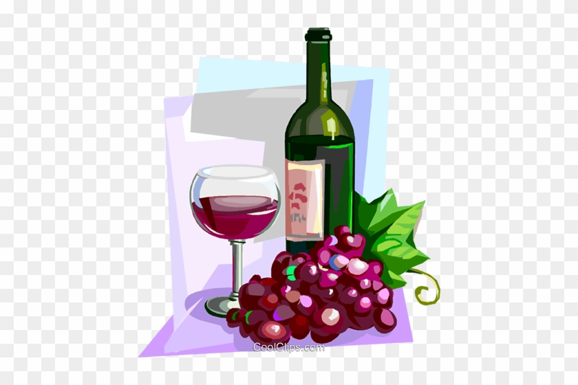 French Red Wine With Glass And Grapes Royalty Free - Wine Bottle And Grapes Clip Art #867451