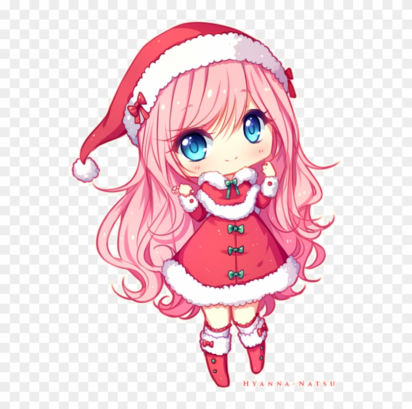 Christmas Anime.Christmas Anime Girl Chibi Commission Chibi Girl Christmas
