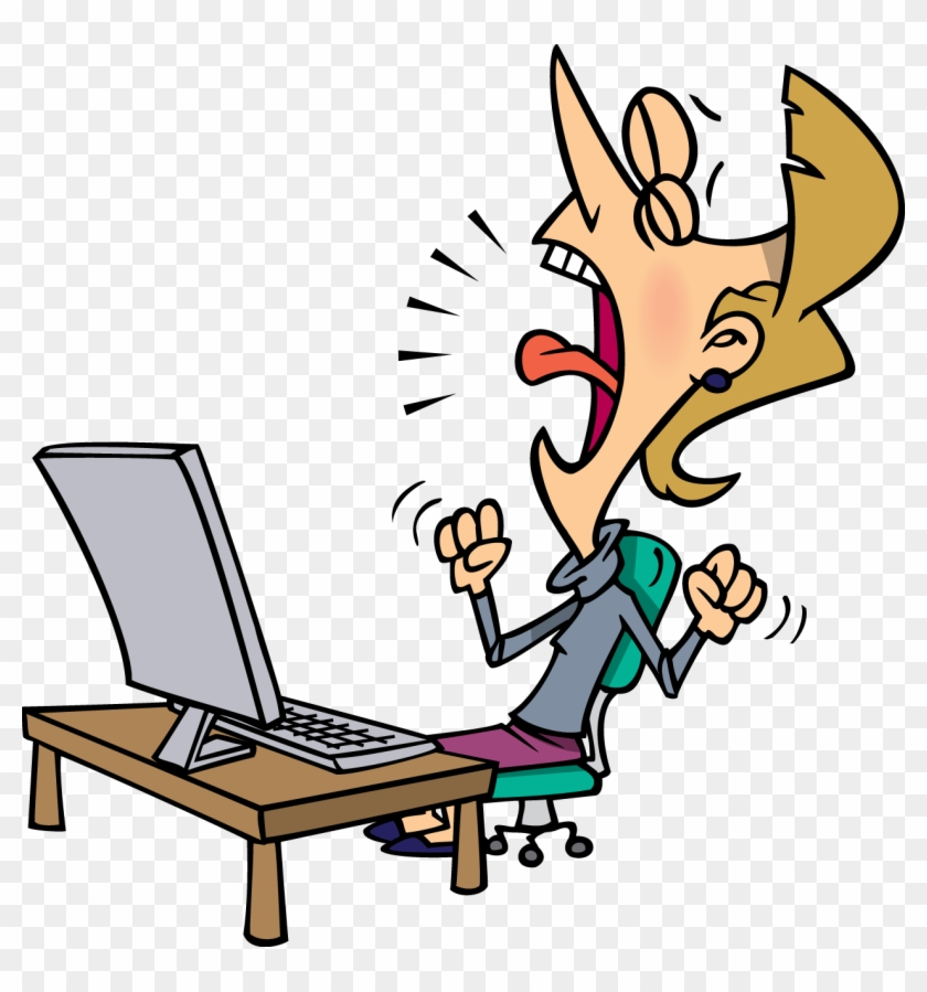 Frustrated Computer User Cartoon - Free Transparent PNG Clipart Images  Download
