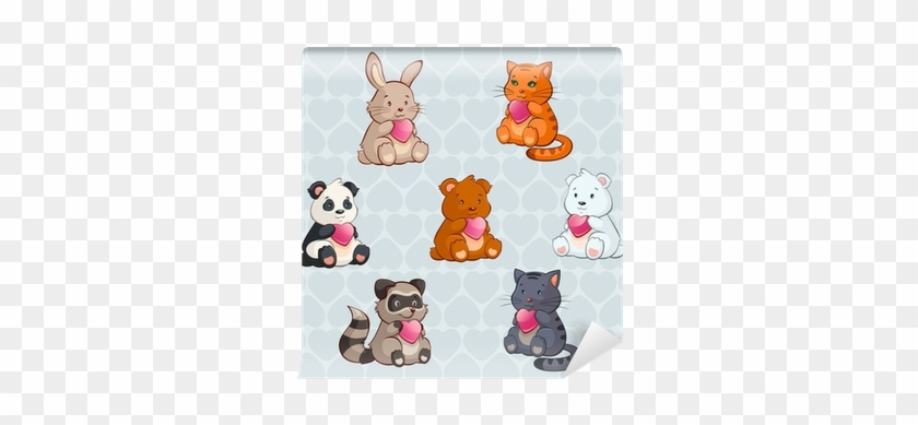 Cute Baby Animals Holding Hearts - Cute Animals And Hearts #870156