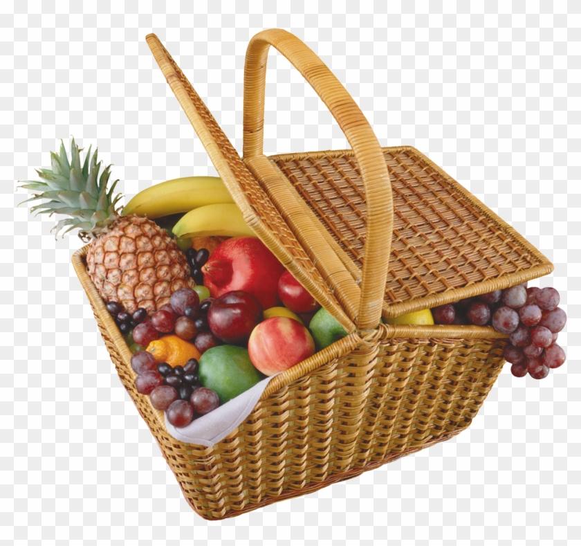Picnic Basket Clipart Fruit Basket - Picnic Basket With Food #872713