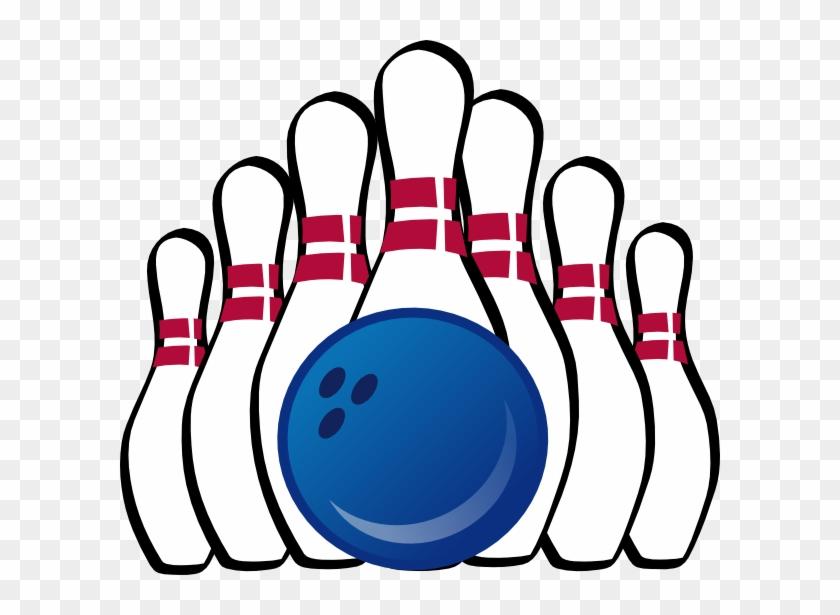 Bowling Ball And Pins Clip Art At Clker Com Vector - Bowling Pins Coloring Page #873503