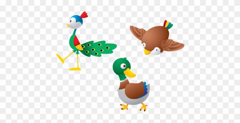 Cute Duck And Birds Vector Farm Animals Vectors Free - Animal Wall Sticker - Animal Wall Decal #873683