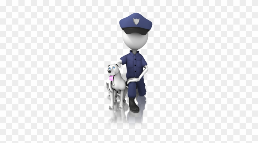 Police Officer With The Megaphone Stock Photo - Stick Figure Police Dog #877650