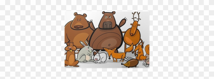 Wild Forest Animals Group Cartoon Illustration Poster - Forest Animals Coloring Book #878155
